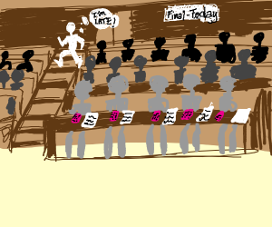 A student during his exam session