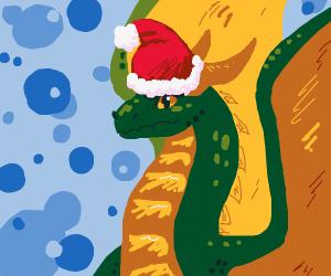 Dragon with a santa hat