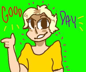 Blonde man says Good Day