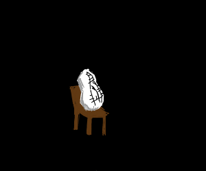 qhite peanut on a chair in the darkness