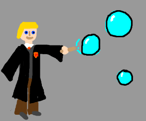 Hogwarts student casting a bubble spell
