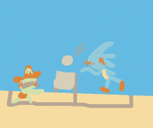 Mario  EXE VS Sonic  EXE Beach Volleyball - Drawception