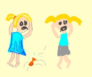 Children panic as pet fish flops about floor.