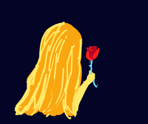 Ginger woman with red rose