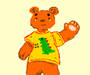 orange bear wearing a shirt with a dino on it