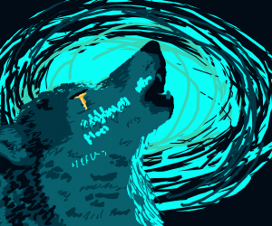 Epic wolf  with tears of gold