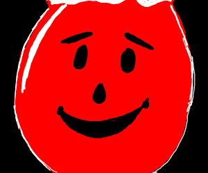 Close up of the Kool-Aid Mans face