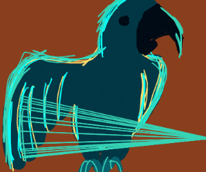 Blue parrot, pointing the way forward