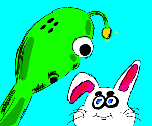 Alien finds cute rabbit.