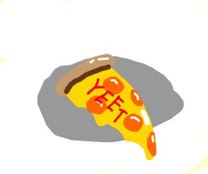 Eating a slice of Yeetzza.