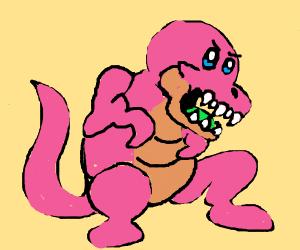 Pink kurby dino roars