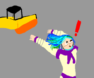 Earth-chan runs from [Road Roller]