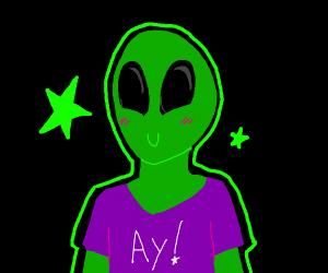 Alien wears a purple shirt saying ay