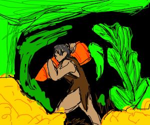 Cavemen carrying giant carrot through jungle
