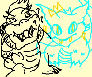 Bowser confused by cool furry