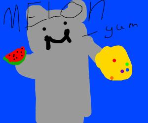 infinity gauntlet wearing hippo eats melons