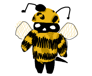 Man in a deformed bee costume
