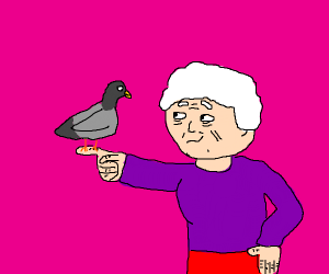 Cute Old Lady with a Pigeon