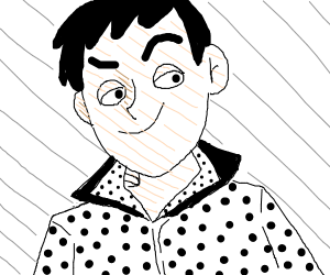 Guy with a popped collared dot shirt