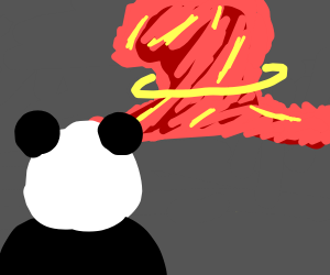 Panda watches dynamite explode
