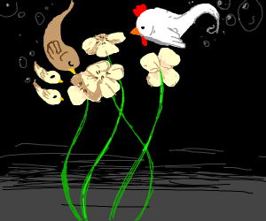 chicken-fish above the flowers