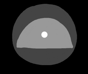 a dot inside a circle and a semi circle