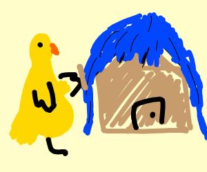 A very Big Bird building a wigged house