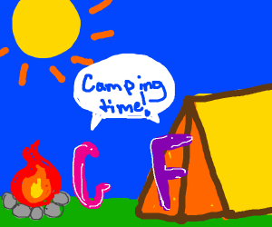 Letter G and F on camping