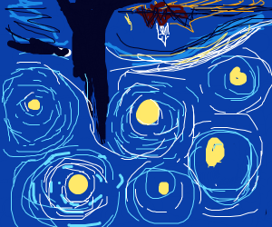 starry night but upside down