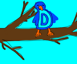 A bird sad in format of D