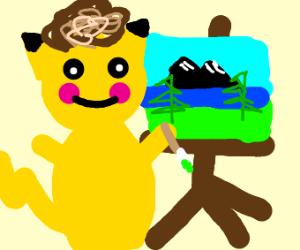 Pikachu as Bob ross