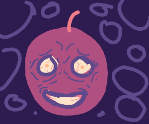 a deranged grape with wrinkles screeching
