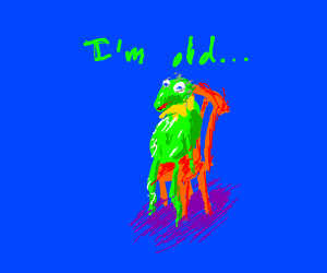 Kermit but he's tattered