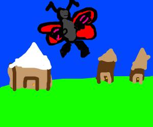 Buff firefly flies over village