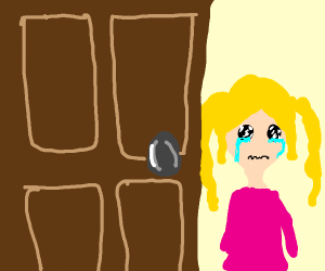 Crying child opens door