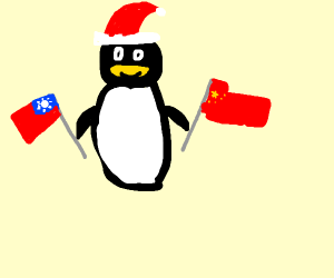 A chinise penguin in a santa outfit