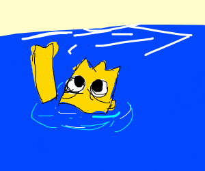 bart simpson or spongebob drowning in the sea