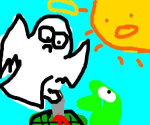 Angel kills turtleman while sun is watching