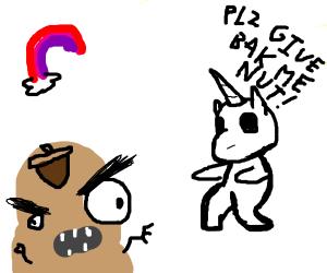 Unicorn nut on potatoes face