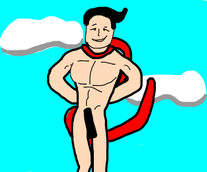 naked man with red s cape