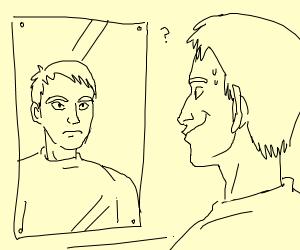 Guy looking at mirror smiling, reflection no