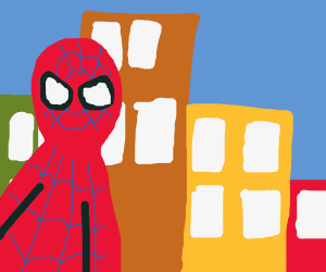 angry spiderman in city