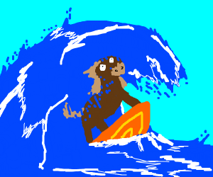 Horse on a Surfboard
