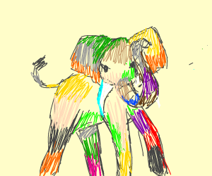 elephant drowning in color