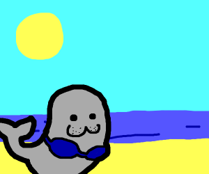 Cute seal in bikini swimming under the sun