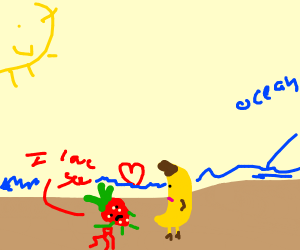 Strawberry in love bleeding on beach (kiwi)