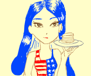 Blue haired native US girl holds up pancake