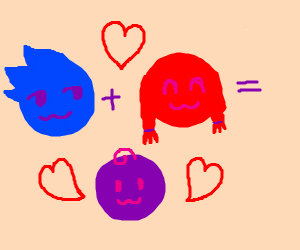 Red mixed with blue gives you purple!