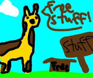 a giraffe giving away stuff 4 free