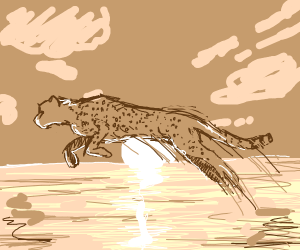 Cheetah jumping over the Ocean